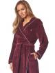 l&l szlafrok damski ciepły bordowy z jasną lamówką wiązany w talii długi rękaw model love