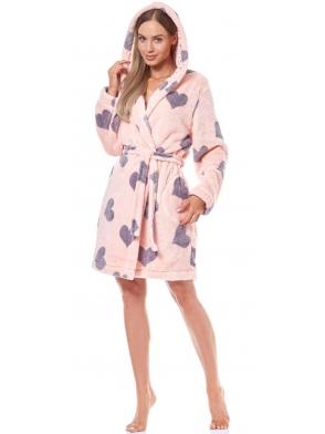 różowo fioletowy szlafrok damski z kapturem fioletowe serca wiązany w talii długi rękaw l&l kola