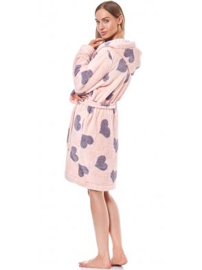 l&l różowo fioletowy szlafrok damski krótki z kapturem motyw serc wiązany w talii długi rękaw kola