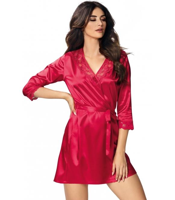 satynowy czerwony szlafrok damski krótki donna venus red wiązany w talii