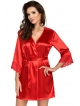 donna eva satynowy wiązany szlafrok damski czerwony z koronkowym dekoltem i zakończeniem rękawów długi do połowy uda
