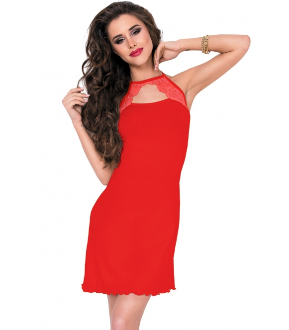 dkaren jelena czerwona damska koszulka nocna z przepięknie zdobionym koronką dekoltem długość bielizny do połowy uda