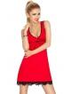 dkaren venus czerwona koszulka nocna na szerszych ramiączkach z koronkowymi dekoracjami dekoltu i kokardką między miseczkami