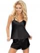 dkaren karen czarna satynowa koszulka na cieńkich ramiączkach i krótkie spodenki szorty dwuczęściowy komplet bielizny damskiej