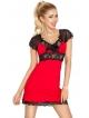 dkaren czerwona koszulka nocna z czarną koronką na ramionach i dekolcie odcięta pod biustem czarnym pasem koronki paulina