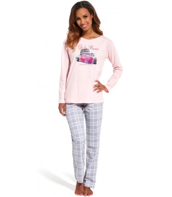 cornette go to rome długa piżama damska dwuczęściowa bluza różowa długi rękaw kolorowy nadruk na piersi spodnie długie w kratę
