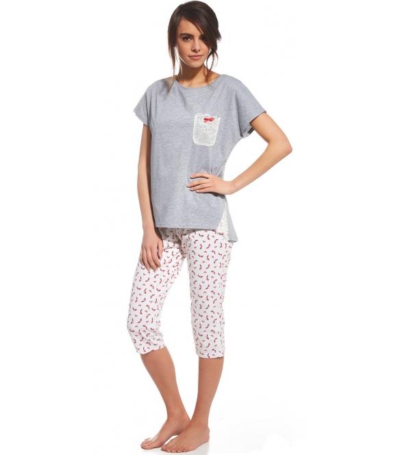 cornette nelly dwuczęściowa piżama damska z koszulką z krótkim rękawem i kieszonką spodnie 3/4 typu rybaczki wzorzyste