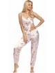 donna satynowa piżama damska w odcieniach różu kwiatowy motyw koszulka na cienkich ramiączkach spodnie długie typu alladynki