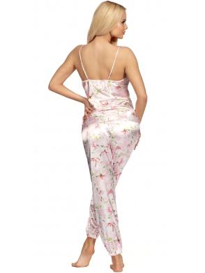satynowa dwuczęściowa piżama damska o kwiecistym wzorze koszulka z cienkimi ramiączkami spodnie długie zakończone ściągaczem