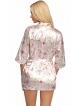 peniuar szlafrok damski z perłowej różowej satyny w kwiecisty wzór wiązany w pasie rękaw 3/4 krótki donna donatella