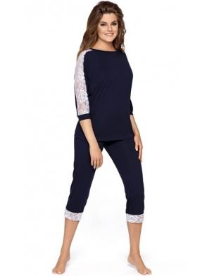 babella wiskozowa piżama damska granatowa długość 3/4 z białą koronką na rękawach i zakończeniu spodni model toscana
