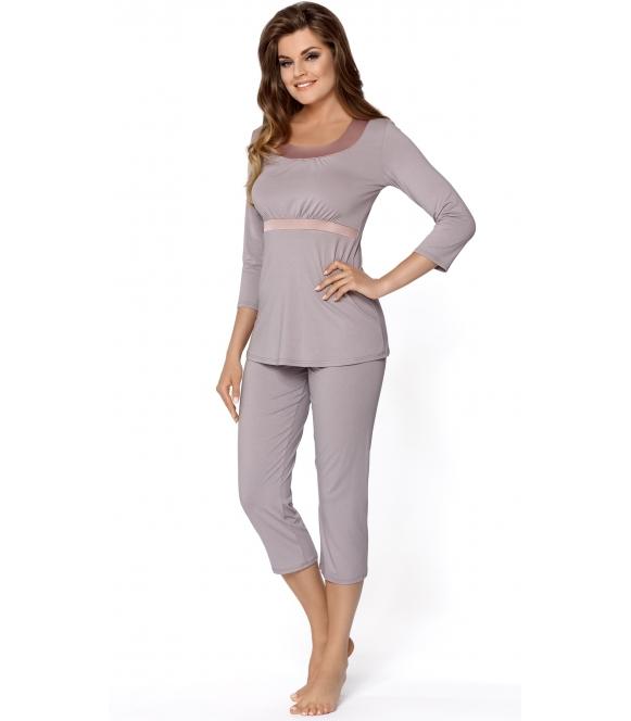 piżama damska w srebrzysto szarym kolorze bluza z satynowym odcięciem pod biustem rękaw 3/4 spodnie typu rybaczki babella