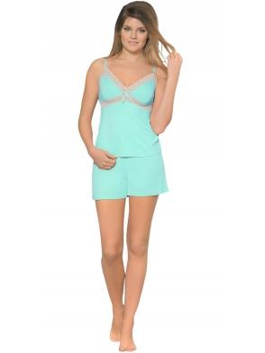 babella miętowa piżama damska krótka z koronką fabien piżamka na ramiączkach koronka pod biustem spodenki krótkie