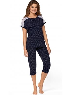 granatowa piżama damska w kropeczki z koronkowymi ramionami rękaw krótki spodnie 3/4 typu rybaczki babella anna
