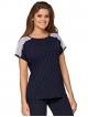 babella dwuczęściowa granatowa piżama damska w kropki krótki rękaw zdobiony koronką spodnie do połowy łydki typu rybaczki anna
