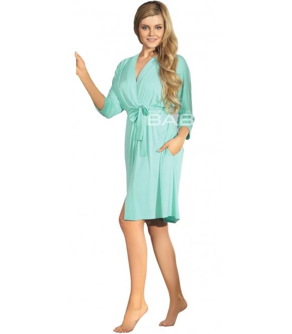 babella szlafrok damski miętowy krótki wiązany w pasie rękawy trzy czwarte długość do kolan model bianca