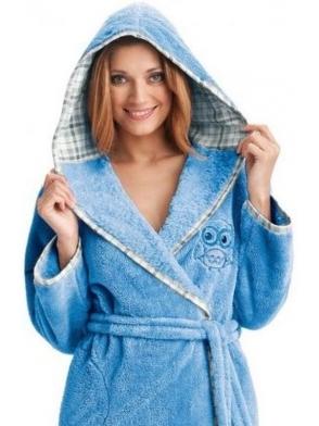 dorota serenity błękitny szlafrok damski z kapturem wiązany w talii