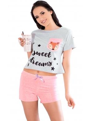 różowo błękitna piżama damska krótki rękaw napis na koszulce sweet dreams spodenki krótkie różowe w groszki białe