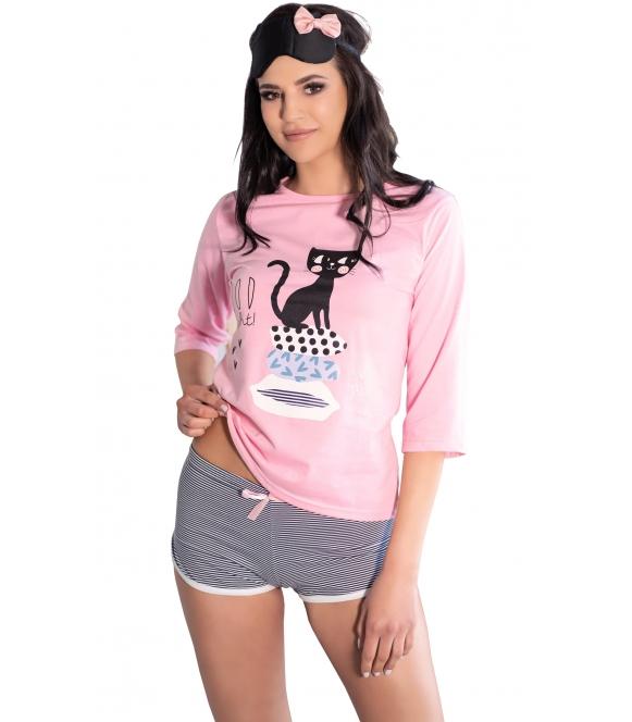 piżama damska z różową górą koszulką i z modnym nadrukiem spodenki krótkie w poziome prążki livco corsetti