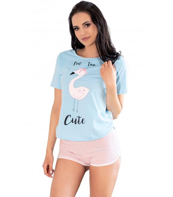 piżama damska bawełniana krótki rękaw koszulka błękitna z nadrukiem flaminga spodenki krótkie różowe w prążki livco corsetti