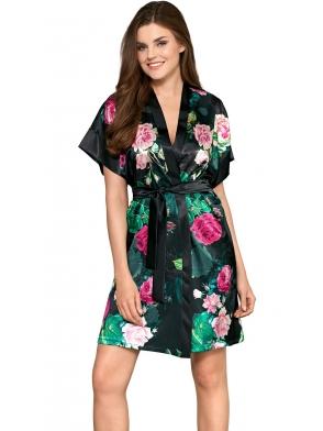 bebella rose satynowy szlafrok damski czarno zielony z motywem róż krótki rękaw wiązany w talii długość przed kolana