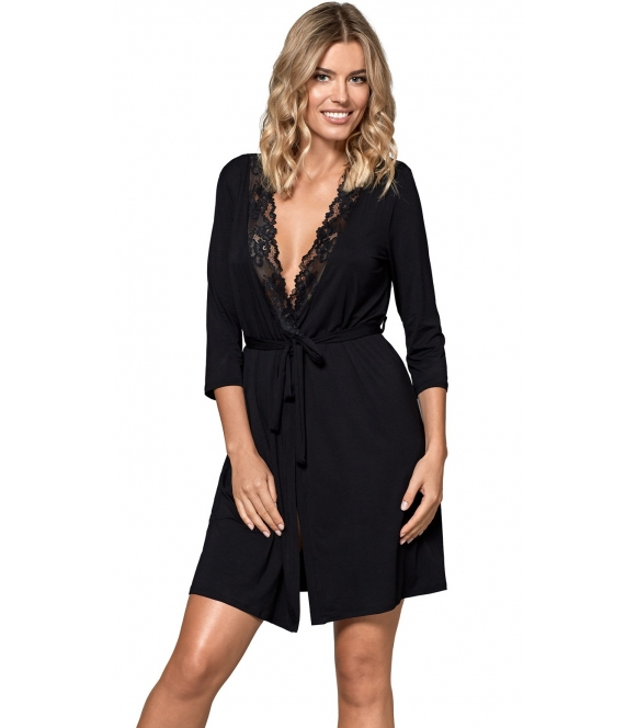 nipplex bona szlafrok damski z koronką czarny wiązany w talii rękawy 3/4 długi przed kolana wiskozowy