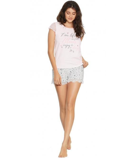 henderson ladies piżama damska z koronką favorite różowa koszulka z krótkim rękawem z koronki spodenki w koronkowe kwiatuszki
