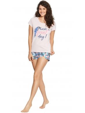 henderson piżama damska z egzotycznym motywem dwuczęściowa krótka koszulka z nadrukiem papugi i napisem spodenki krótkie