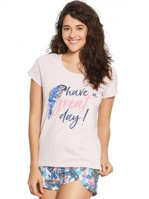 piżama damska dwuczęściowa koszulka różowa krótki rękaw nadruk papugi spodenki krótkie w egzotyczne wzory