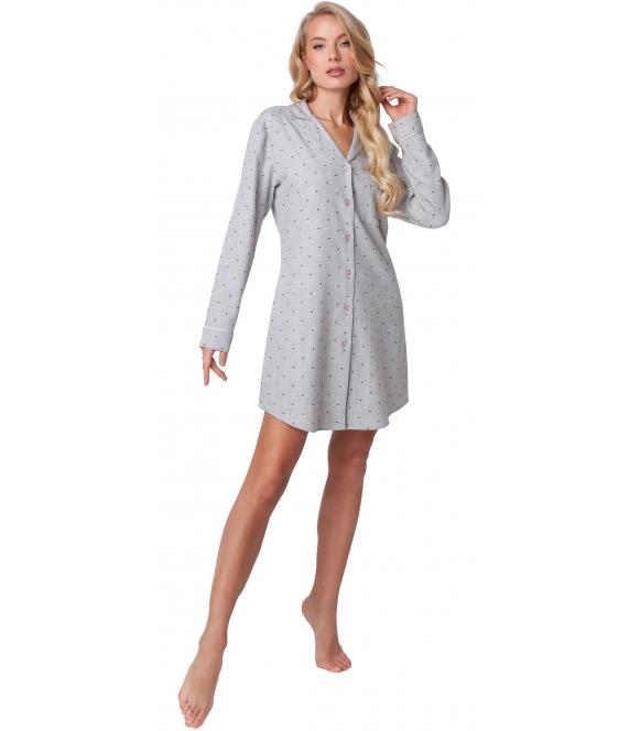 aruelle bawełniana koszula nocna z nadrukiem serduszek szary materiał z długim rękawem zapinana z przodu na guziki krótka