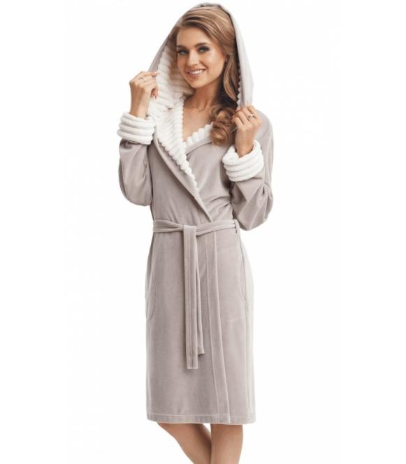 dorota beżowy szlafrok damski bawełniany z kapturem wiązany długi rękaw z jasnymi mankietami długość do kolan model Maggie