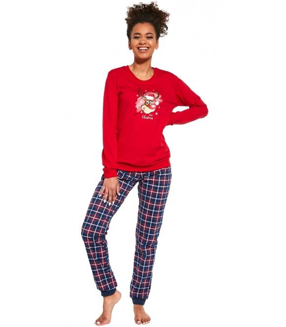 świąteczna dwuczęściowa piżama damska z nadrukiem renifera na piersiach bluza czerwona spodnie długie w kratę