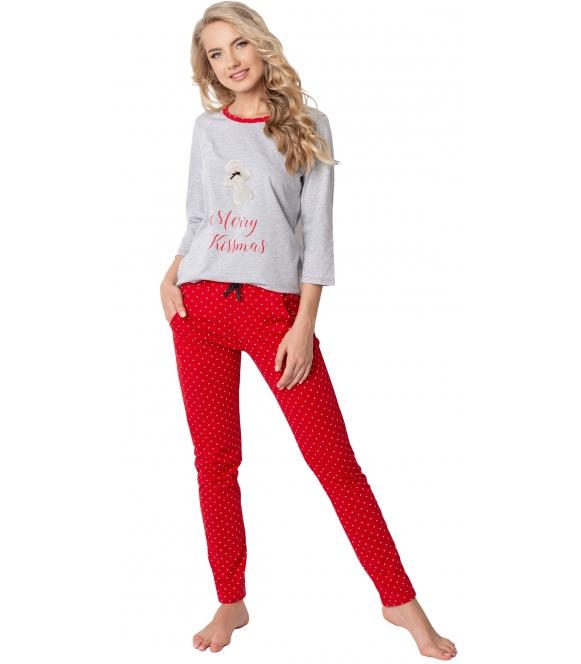 piżama damska świąteczna z nadrukiem ciastka na koszulce i napisem merry kissmas koszulka szara spodnie długie czerwone
