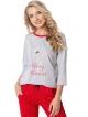 aruelle piżama damska z świątecznym motywem i napisem merry kissmas koszulka szara z czerwonymi lamówkami spodnie czerwone