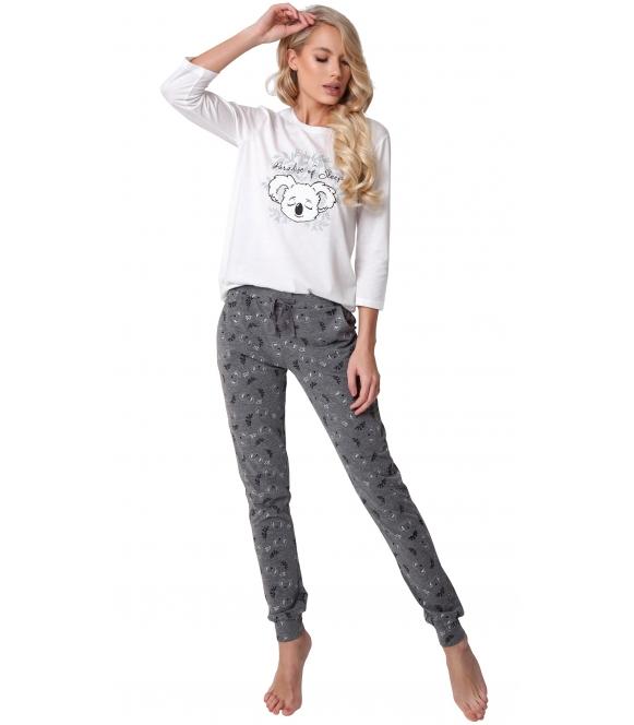 aruelle komfortowa piżama damska z nadrukiem 3d śpiącego misia koala rękaw 3/4 spodnie ciemne szare z nadrukiem koala i roślin