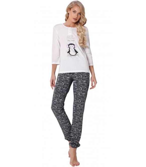 aruelle piżama damska z nadrukiem pingwinka jasna bluza rękaw 3/4 spodnie długie ze ściągaczem wzorzyste