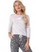 dwuczęściowa piżama damska z nadrukiem uroczego śpiącego misia aruelle polar bear long bluza jasna spodnie ciemne w gwiazdki