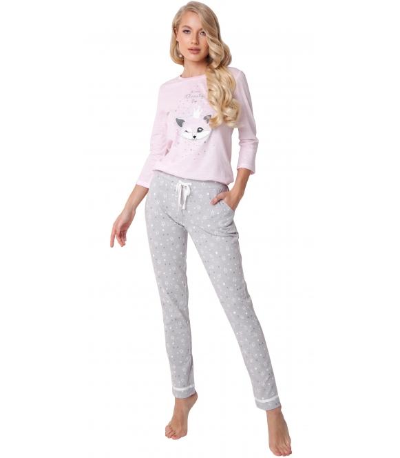 aruelle piżama damska z liskiem w koronie nadrukowanym na bluzie rękawy 3/4 spodnie szare długie z lamówkami