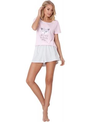 aruelle piżama damska krótka z liskiem w koronie nadrukowanym na koszulce jasne krótkie luźniejsze spodenki w pionowe paski