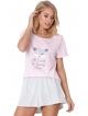 różowo szara krótka piżama damska z motywem liska w koronie na koszulce aruelle trixie short luzne spodenki w pionowe prążki
