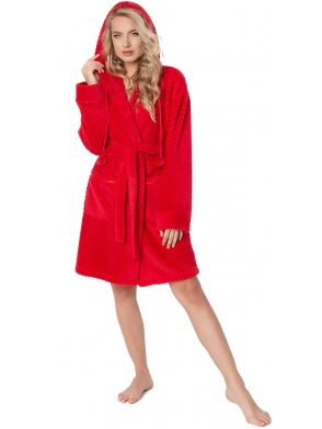 aruelle puszysty i ciepły szlafrok damski czerwony z kapturem wiązany w pasie długość bielizny przed kolana