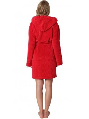 elegancki ciepły czerwony szlafrok damski aruelle betty red z kapturem i kieszeniami po bokach długość przed kolano