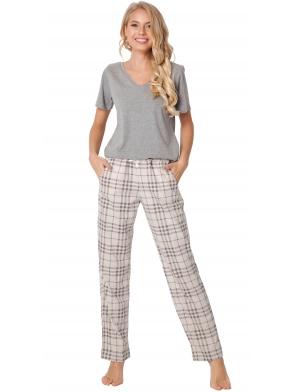 piżama damska bawełniana z modną kratą aruelle lonette long beige koszulka szara krótki rękaw spodnie długie w kratę