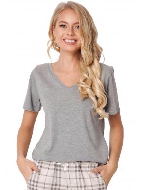 aruelle piżama damska bawełniana koszulka szara krótki rękaw dekolt v spodnie długie w jasną modną kratę