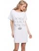 aruelle koszulka nocna ze srebrną koroną i modnym napisem bawełniana kolor biały krótki rękaw model princess white