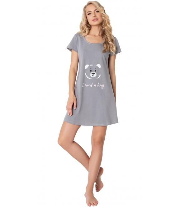 aruelle bawełniana koszulka nocna do spania krótka szara z krótkim rękawem z przodu nadruk uśmiechniętego misia