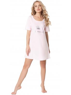koszulka nocna damska jasno różowa ze srebrzystym napisem princess krótki rękaw luźno opadający dół do połowy uda aruelle