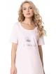 bawełniana jasno różowa koszulka nocna do spania damska krótki rękaw półokrągły dekolt srebrny napis princess aruelle