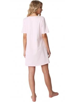 bardzo kobieca koszulka damska nocna z bawełny jasno różowa z krótkim rękawem aruelle sparkly princess pink