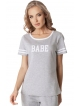 bawełniana piżamka damska firmy aruelle model bebe long grey szara krótki rękaw z białymi lamówkami spodnie długie
